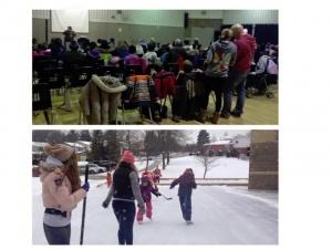 families having fun in the snow